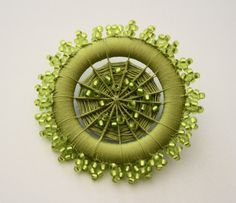 Ornate Beaded Dorset Button Brooch in Chartreuse by denisekovnat on Etsy