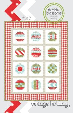 """Finished Quilt Size: 54"""" x 68"""" Fabric Requirments: - 10 fat quarters - 1 Gray fat quarter for ornament tops - 1 1/2 Yards neutral fabric - 1 Yard sashing fabric - 1 Yard border fabric - 5/8 Yards bind"""
