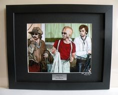 """Easy Rider themed Wall Art, Limited Edition Custom Framed Motorcycle Art Print with Certificate, Hopper, Nicholson, & Fonda - Original Painting by John Guillemette. This Ltd Edition Custom Framed Print was reproduced from John Guillemette's original oil painting titled: """"Redneck Cafe"""". It is a triple portrait of Dennis Hopper, Jack Nicholson, and Peter Fonda from the 1969 Movie Easy Rider. The painting was featured in V-Twin and Easy Riders magazines. Raven black matting mounted in Satin..."""