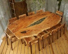 Astonishing live edge table and chairs  By 'Live Edge Design'