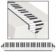 """Piano Keyboard Table Runner by Beistle. $3.15. Our Piano Keyboard Table Runner is a great decoration for your next Fifties party. It is a fun and economical way to jazz up any entertainment table. The best part is the piano keys look like the real deal!Size: 11"""" wide x 72"""" longMade out of heavy duty paper"""