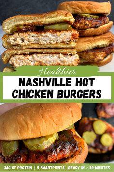 Easy Chicken Burger Recipe, Nashville Hot Chicken Recipe, Grilled Chicken Burgers, Ground Chicken Burgers, Healthy Ground Chicken Recipes, Juicy Burger Recipe, Grilling Recipes, Cooking Recipes, Chicken Breakfast