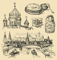 Скачать - Набор иконок рисованной России — стоковая иллюстрация #9111245