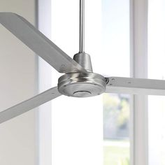 "60"" Turbina Brushed Steel Ceiling Fan - #R4144 
