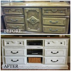 Convert an outdated dresser into an entertainment centre with this tutorial by The North End Loft.