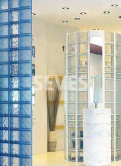 Glasbaustein Runddusche. Bagno.02 | Innenräume | Fotogalerie Fotogalerie |  Seves Glassblock
