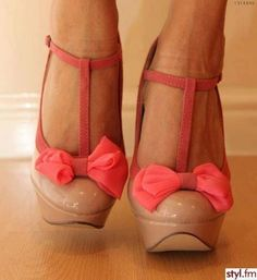 coral bow heels.