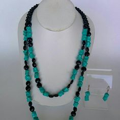 Black Onyx with Turquoise Necklace This beautiful and elegant necklace is designed by me and it's sold with the earrings and the clasp is 925 silver. Jewelry Necklaces