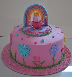Peppa Pig Birthday decorations | peppa pig garden rainbow cake with hand made topper peppa pig garden ...