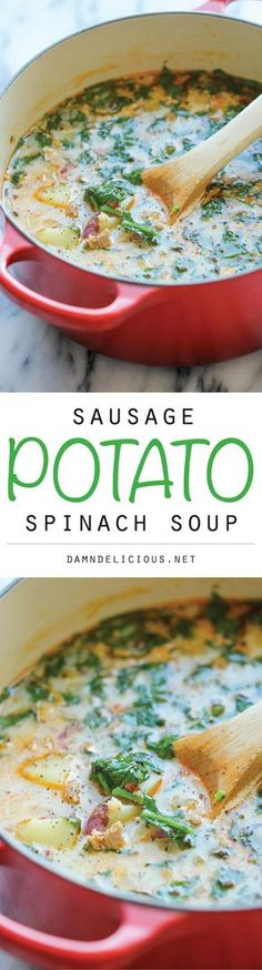 Sausage, Potato and Spinach Soup - A hearty, comforting soup that's so easy and simple to make, loaded with tons of fiber and flavor! 329.5 calories. Non Dairy Potato Soup Recipe, Recipes With Sausage And Spinach, Cream Of Spinach Soup, Recipe With Italian Sausage, Recipe With Spinach, Keilbasa Sausage Recipes, Cream Of Turkey Soup, Turkey Kielbasa Recipes, Turkey Sausage