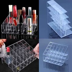 24 Clear Display Stand Holder Makeup Lipstick Cosmetic Storage yks