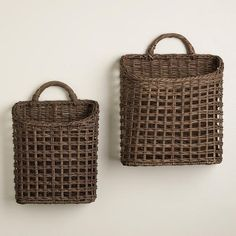 "One of my favorite discoveries at WorldMarket.com: Carmen Open Weave Baskets Small: 5""W x 10.5""L x 10""H;   $20 Medium: 7""W x 12.5""L x 10.5""H   $25"