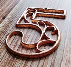 House Number Five  Metallic Copper Cast Iron Wall Hangers Decorative House Warming Gift 4.5 inches Table Numbers on Etsy, $10.92 AUD