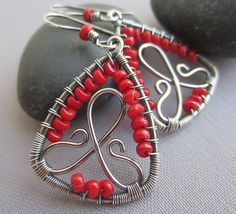 Coral Earrings/ Wire Earrings/Artisan Earrings/ Silver por mese9