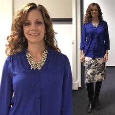 Stitch Fix top, SHE skirt, LOFT jewelry.
