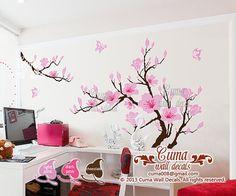 tatuajes de pared flor rosa pared pegatinas flor de cerezo por cuma