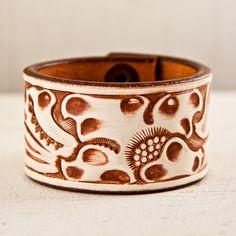 Tooled Leather Embossed Stamped Carved Bracelet by rainwheel, $35.00