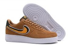reputable site 658a3 68f4d Mens Nike Air Force 1 07 Lv8 Suede Brown Muted Bronze Yellow 823511 204  Male
