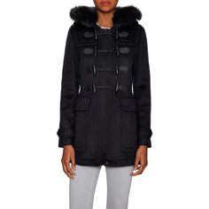 Burberry Women's Fur Trim Hooded Toggle Coat - Black, Size 6 ($1,299) ❤ liked on Polyvore featuring outerwear, coats, black, fur-trimmed coat, fox fur hooded coat, toggle coats, burberry coat and toggle button coat