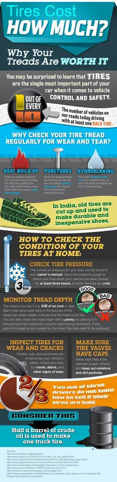Tires cost how much? Why your treads are worth it [Infographic]    You may be surprised to learn that tires are the single most important part of your car when it comes to vehicle control and safety. You also might by surprised to learn one out of every ten vehicles on our roads today are driving with at least one bald tire. The infographic below details why it's important to check your tire tread regularly for wear and tear.