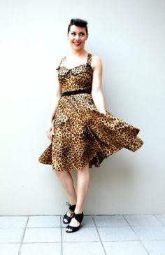 Retro Rockabilly Ferocious Leopard print pinup by VenonaPearl, $195.00