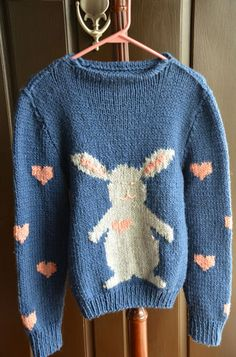 Hand Knitted One of A Kind Easter Bunny Rabbit Hearts Sweater Women's s M | eBay $30