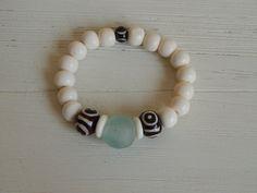 White bone bead bracelet with recycled glass boho by SoCalKnotty
