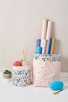 Tame the clutter with Anna Alicia's easy-sew fabric baskets.