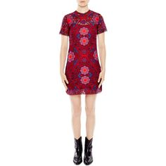 Sandro Lys Medallion Lace Dress (2,255 SAR) ❤ liked on Polyvore featuring dresses, red, lace dress, sandro, lacy dress, lacy red dress and red dress