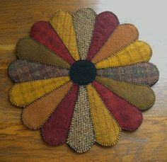 Items similar to Primitive Wool Penny Rug, Jar Candle Mat, Dresden Plate, Table Centerpiece on Etsy