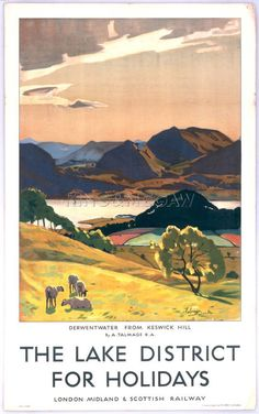 Lake District - Derwentwater from Keswick Hill Art Print by National Railway Museum at King & McGaw