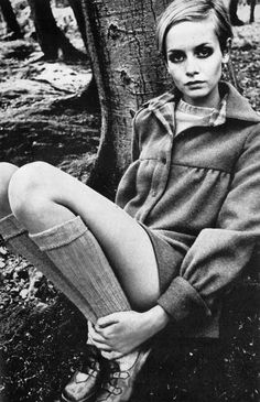 Twiggy in a great coat and shoes, mid 1960s.