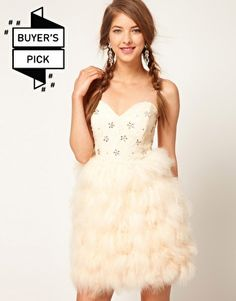 ASOS Feather Bandeau Dress with Jewelled Bodice