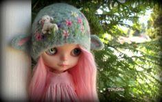 OOAK Custom Blythe Doll Needle Felted  Lamb Hat/Helmet by ~ Tutubella