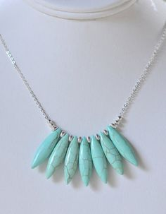 Turquoise Marquise Statement Necklace in Silver