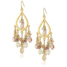 """Carolee """"Radio City"""" Radio City Chandelier Pierced Earrings ($65) ❤ liked on Polyvore featuring jewelry, earrings, multi colored pearl earrings, multi colored earrings, tri color earrings, beaded earrings and pearl jewelry"""