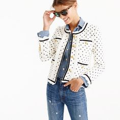 """Our customer-favorite lady jacket that's fitted with custom-developed buttons for a polished feel. We made this one in a polka-dot printed tweed with a ruffly chiffon trim for a refined, feminine touch. <ul><li>Body length: 21 1/4"""".</li><li>Sleeve length: 30 1/4"""".</li><li>Hits at waist.</li><li>Cotton shell with poly chiffon trim.</li><li>Dry clean.</li><li>Import.</li><li></li><li>Select stores.</li></ul>"""