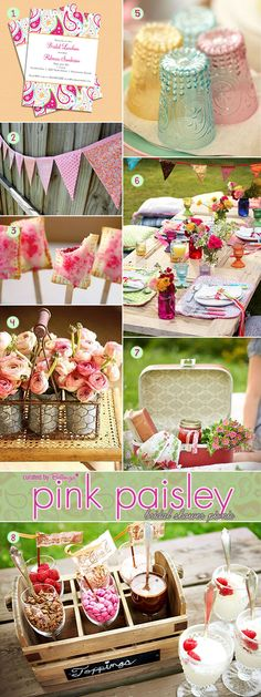 Pink paisley bridal shower picnic ideas with invites, food, decor, desserts, and flowers. #inspirationboards #weddingpicnic