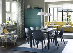 Chairs that combine style and sustainability - IKEA - I like the idea of neutral dining table + fun chairs Dining Room Sets, Green Dining Room, Ikea Dining, Dining Room Colors, Dining Room Design, Settee Dining, Luxury Dining Chair, Dining Table Chairs, Dining Room Furniture