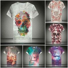 New Summer 2014 Fashion Women/Men Skull Flowers Moustache Triangle Galaxy Print 3D T Shirt Camisetas Casual Tee Shirts Tops US $8.88