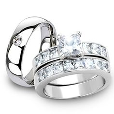 His  Her Stainless Steel 3pc Princess Wedding Ring Set  Mens Classic Band Womens Size 06 Mens 06mm Size 11 *** You can get more details by clicking on the image.(This is an Amazon affiliate link and I receive a commission for the sales) #WeddingandEngagement