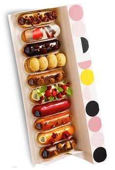 Eclair Inspiration L'éclair de Génie By Christophe Adam. I have always loved the idea of fresh filled eclairs to order.different flavors make it even better! French Desserts, Mini Desserts, Just Desserts, Delicious Desserts, Dessert Recipes, Yummy Food, Eclairs, Profiteroles, Do It Yourself Food