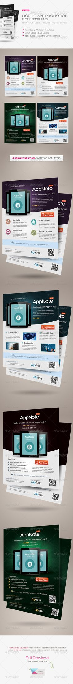 Mobile App Promotion Flyers #GraphicRiver The Best Seller Mobile App Flyer on Graphic River! A great-alternative flyer template ideal for promoting or advertising your mobile apps (iphone, android, windows). These templates can also be used for a magazine