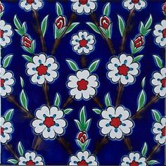 Turkish Art, Turkish Tiles, Portuguese Tiles, Moroccan Tiles, Pattern Art, Pattern Design, Clay Tiles, Oriental Pattern, Ceramic Painting