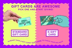 Let them pick it out with Urban Outfitters e-gift cards + gift certificates. Whether shopping for a birthday, holiday, or any other occasion, a gift card from UO will be sure to please. Urban Outfitters Gift Card, Email Gift Cards, Xmas Wishes, Gift Certificates, Ad Design, Pick One, Gifts, Christmas, Xmas