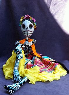 Estela Boneybags - La Calavera de la Catrina OOAK Art Doll  Day of the Dead art.