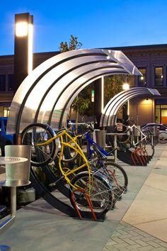semi-vertical bike rack/shelter.