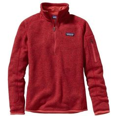 Patagonia Women's Better Sweater 1/4 Zip ($99) ❤ liked on Polyvore featuring tops, sweaters, sumac red, red top, zip top, sweater pullover, patagonia and zip pullover