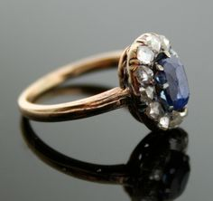 Antique Sapphire Ring - Diamond and Sapphire Ring.