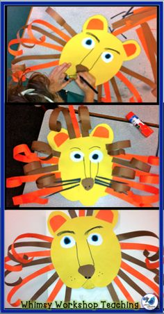 Whimsy Workshop Teaching: Lion Art, Mosaics, and Dominos Sorting Freebie Safari Crafts, Jungle Crafts, Jungle Art, Summer Camp Crafts, Camping Crafts, Animal Art Projects, Animal Crafts, Kindergarten Art, Preschool Crafts